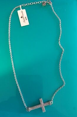Andrea Candela 18Kt And Sterling Silver Diamond Sideways Cross Necklace