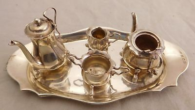 Antique Ejc Sterling Silver Small Child Kid Doll House Tea Set & Tray