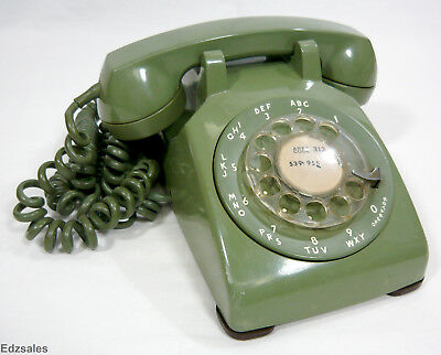 Vintage Olive Green Bell System Western Electric 500 Rotary Desk Phone