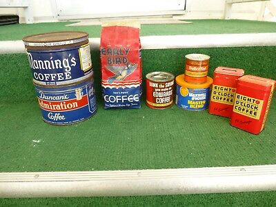 Lot Of (8) Vintage Coffee Tin Litho & Paper Label Advertising Food Merchandise