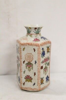 Vintage Chinese Porcelain 6 Sided Crackle Bats Persimmons Flowers Painted Vase