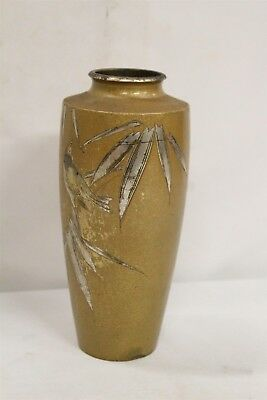 Meiji Japanese Silver Bird Leaves Gold Dust Bronze Cabinet Vase