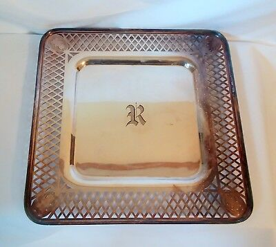 vintage silverplate square serving tray with R monogram reticulated boarder