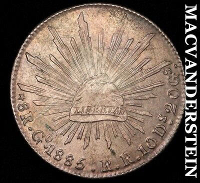 MEXICO (2ND REPUBLIC): 1885-Go,RR EIGHT REALES- COLOR !! HIGH GRADE !! #H4932