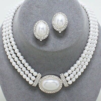 White Pearl Clear Crystal  Prom / Bridal  Necklace & Clip Earring Set X   1 8