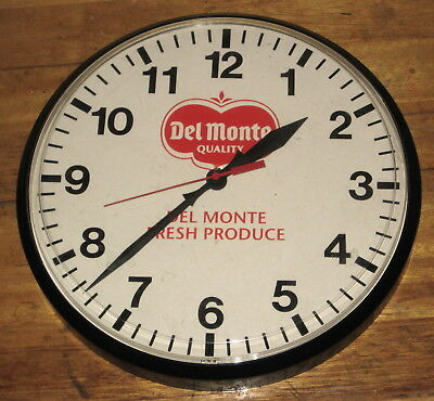 Del Monte Foods Advertising Wall Clock 1960's Vintage Mfg USA Out of Print EXC