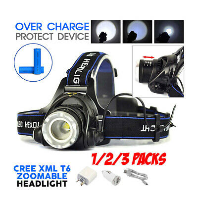 2018 21000LM Zoomable LED Headlamp Rechargeable Headlight CREE XML T6 Head Torch