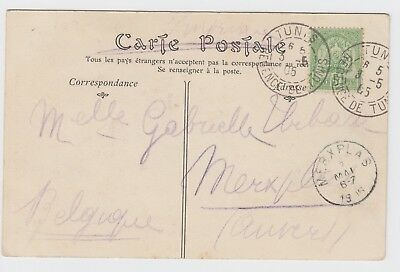 1905 Tunis Carthage Postcard to Merplas Belgium - Mutiple Cancelled Card