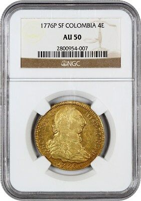 Colombia: 1776-P SF 4 Escudos NGC AU50 (KM# 44) - Colombia