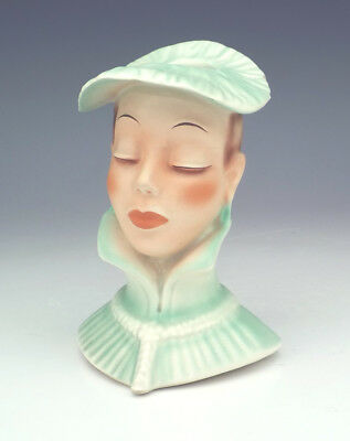 Vintage German China - Hand Painted Lady Formed Head Vase - Art Deco!