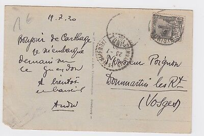 1920 Tunisia Postcard to Vosges France Carthage