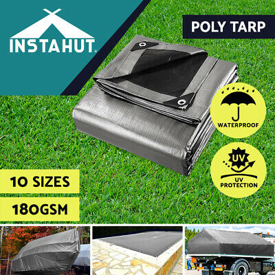 Multi-Size Heavy Duty Poly Tarps 180gsm PE Tarpaulin Camping Cover UV Proof
