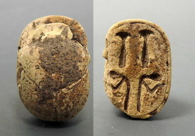 Extremely Large Steatite Scarab With Hieroglyphs To Base (L841)
