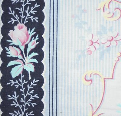 BEAUTIFUL FRAGMENT 19th CENTURY FRENCH LINEN & COTTON c1870 roses, REF PROJECTS