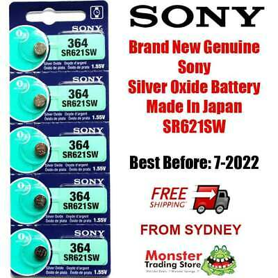 5 Pcs Sony Sr621Sw 364 1.55V Silver Oxide Battery Made In Japan Use By: 12/2020