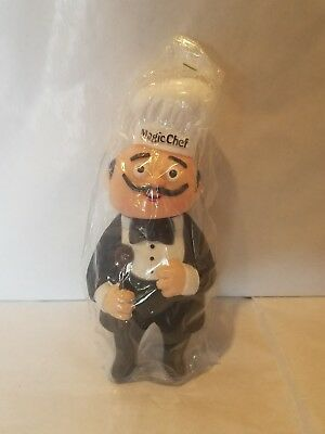 "Magic Chef 1980s Vintage Coin Bank Rubber Kitchen Figure 7.25"" Chef in Tuxedo"