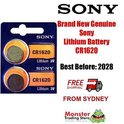 2 x SONY CR1620 3V LITHIUM BUTTON COIN BATTERY BRAND NEW/GENUINE USE BY: 2028