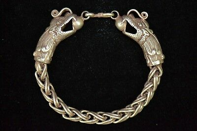 Collectible chinese handwork Tibet Silver weave case Dragon rare noble Bracelet