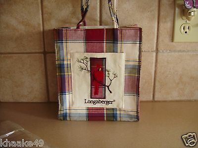 Longaberger Paprika Plaid Small Front Pocket Tote With Red Cardinal On Branch