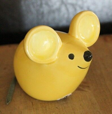 "Vintage Potpourri Pomander Yellow Mouse Ceramic with Leather Tail 3.5"" tall"