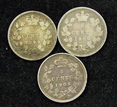 Lot of 3 Canada Silver 5 Cent Coins- 1899-1901 -AVG Circ or Better- KM# 2