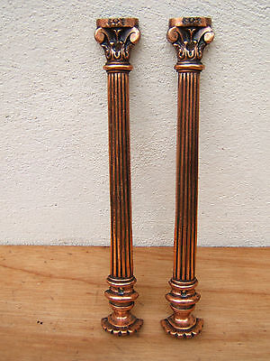 Pair Victorian Decorative Copper Mouldings ~ Doric Pillar Style ~ Fire ~ Mantle