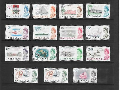 Bahamas - QE II - 1965 definitives - ½d - 10/- - 15 stamps - mounted mint