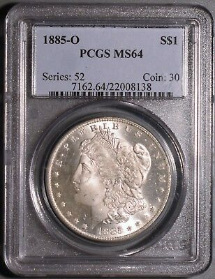1885-O $1 Silver Morgan Dollar, Certified By Pcgs Ms64,  Gb41