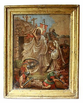 Antique 19th C Russian Hand Painted Icon (59 cm) of the Resurrection of Christ