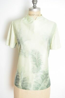 99ad3931498a12 vintage 60s top mint green feather print airbrush pastel blouse top shirt L