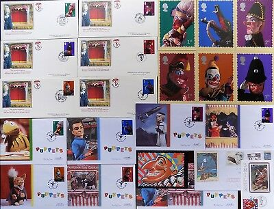 FIRST DAY COVERS FDC's + PHQ CARDS COLLECTION x 24 PIECES # PUPPETS & PUPPETEERS