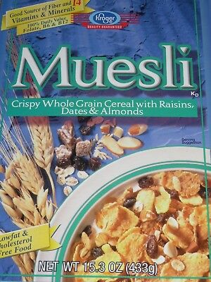 CLEARANCE  2003 Kroger Muesli Cereal Box Fun Graphics empty flat