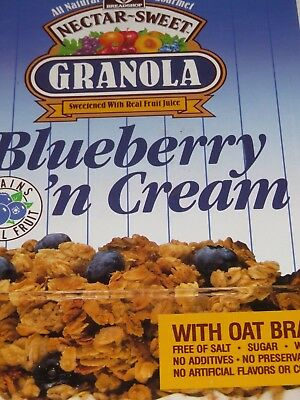 CLEARANCE CEREAL BOX 1992 Nectar-Sweet Granola BLUEBERRY 'n CREAM