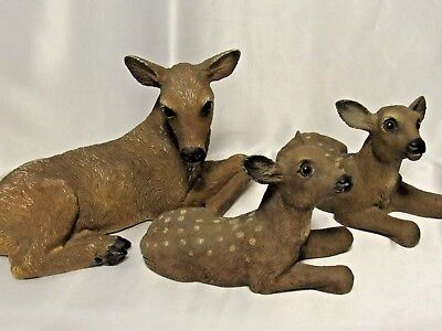 Vintage 3 Deer Figurines 1985 Homco Home Interiors Doe with 2 Fawns