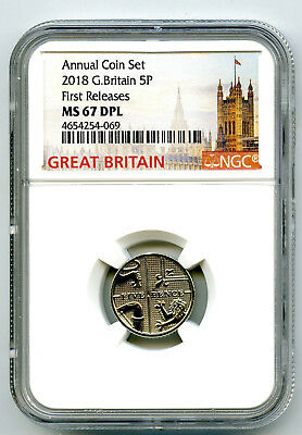 2018 Great Britain 5P Ngc Ms67 Dpl Deep Proof Like Annual First Releases !!