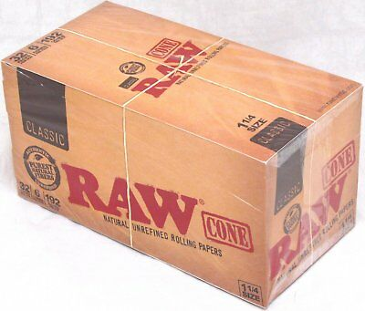 RAW Classic Pre-Rolled Cones 1 1/4 Rolling Papers Box 32 Packs 192 Cones Total
