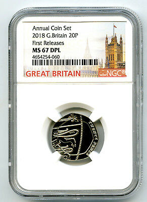 2018 Great Britain 20P Ngc Ms67 Dpl Deep Proof Like Annual First Releases