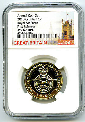 2018 Great Britain 2Pnd Ngc Ms67 Dpl Royal Air Force First Releases !!