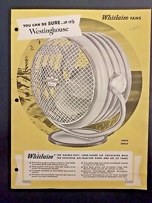 1950s WESTINGHOUSE FANS Whirlaire Sales Brochure from Dealer/Repair Shop