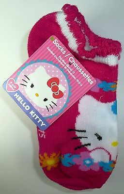 NEW 4 PAIRS HELLO KITTY GIRLS PINK WHITE ANKLE SOCKS SIZE 4-6 L33a
