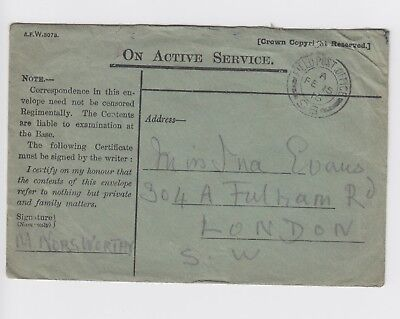 WW1 Western Front On Active Service Cover 1916 To Fulham FPO 98