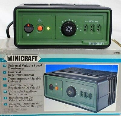 MINICRAFT MB750 Power Adapter Universal Variable Speed Transformer w/Box