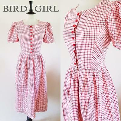 Original 1950S Vintage White & Red Check Cotton Swing Day Dress 10 S