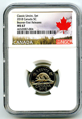 2018 Canada 5 Cent Classic Nickel Ngc Ms67 First Releases Rare Pop5