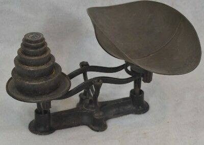 antique balance scale counter table top cast iron bucket weights  1800-1900