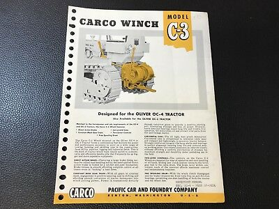 Original CARCO Pacific Car & Foundry Co. Model C-3 Winch