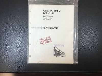 Original New Holland Mower 451-456 Owner's Operator's Manual SEALED