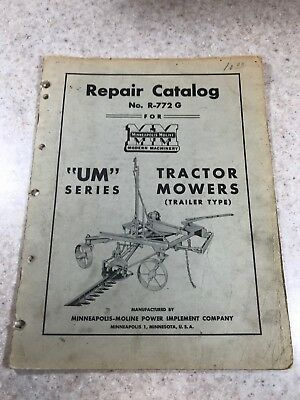 "Original MINNEAPOLIS-MOLINE ""UM"" Series Tractor Mowers Repair Catalog"