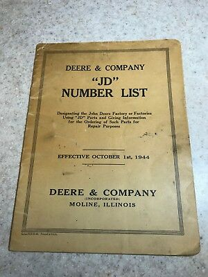 "Original Deere & Company ""JD"" Oct. 1944 Dealer Parts Repair Number List Catalog"