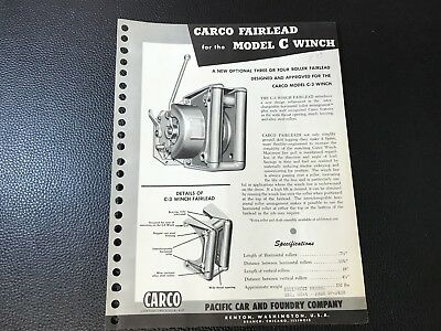 Original CARCO Pacific Car & Foundry Co Fairlead Model C Winch Sales Spec Sheet